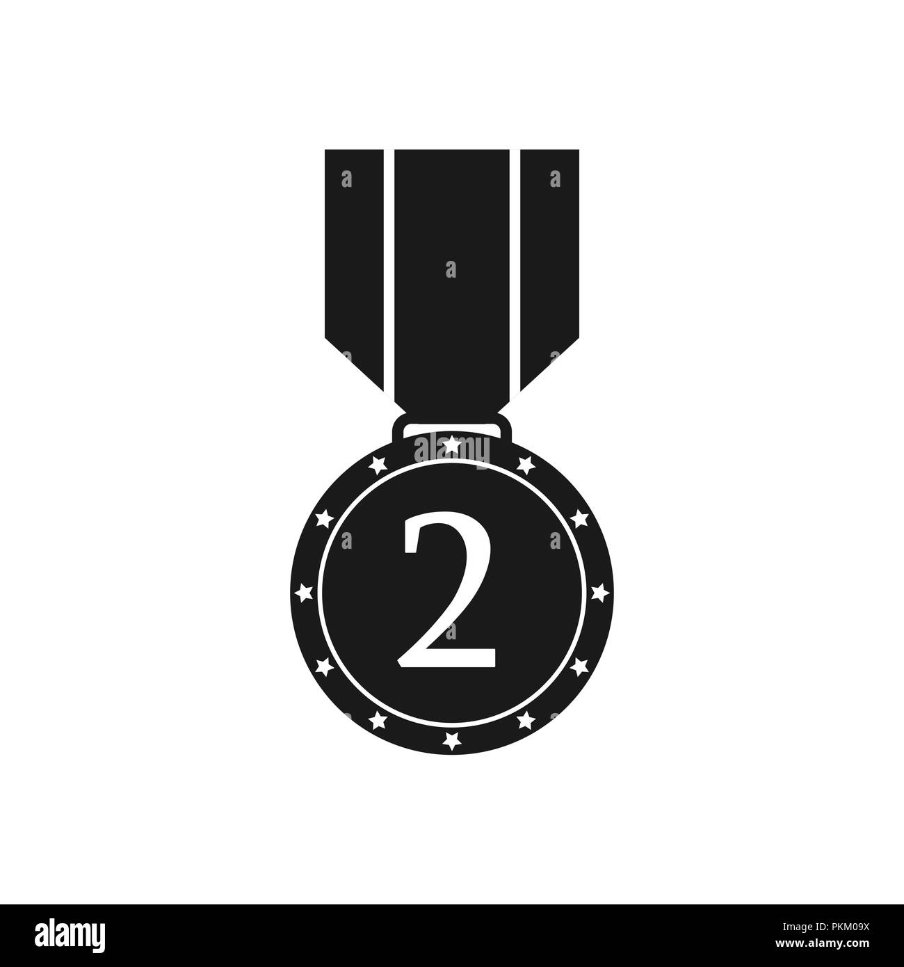 Black and white icon medal with the numeral two, a flat image - Stock Image