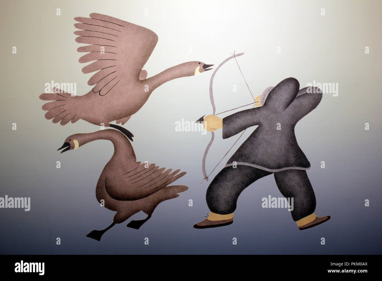 Inuit Art Depicting Hunter Shooting Geese with Bow and Arrow - Stock Image