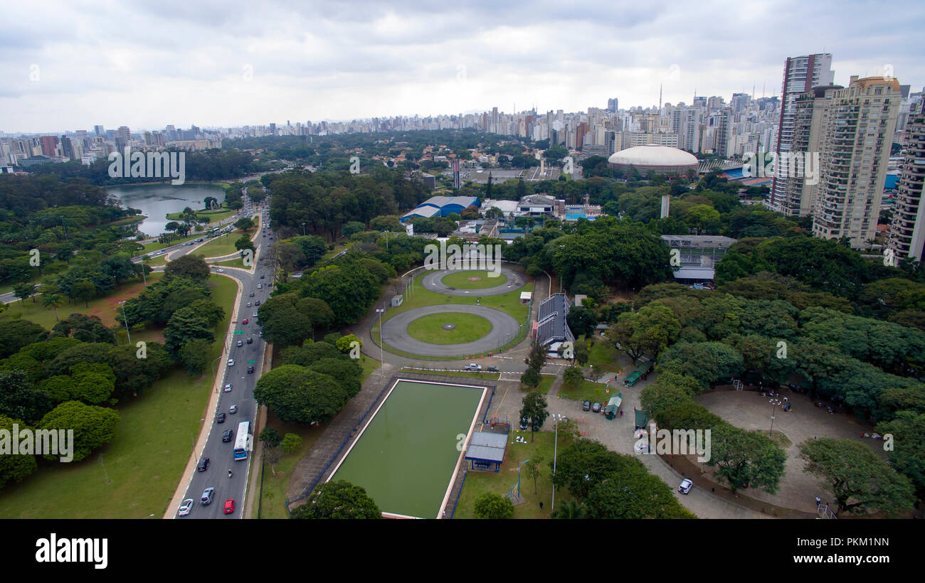 Avenues and squares in the great cities of the world. Ayrton Senna Brazil Square and Pedro Alvares Cabral Avenue in Sao Paulo Brazil South America. - Stock Image