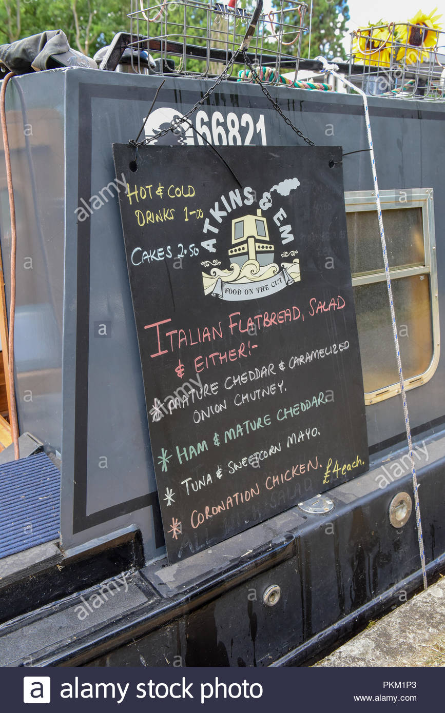 Menu board on narrowboat selling food to towpath users on the UK's inland waterways. - Stock Image