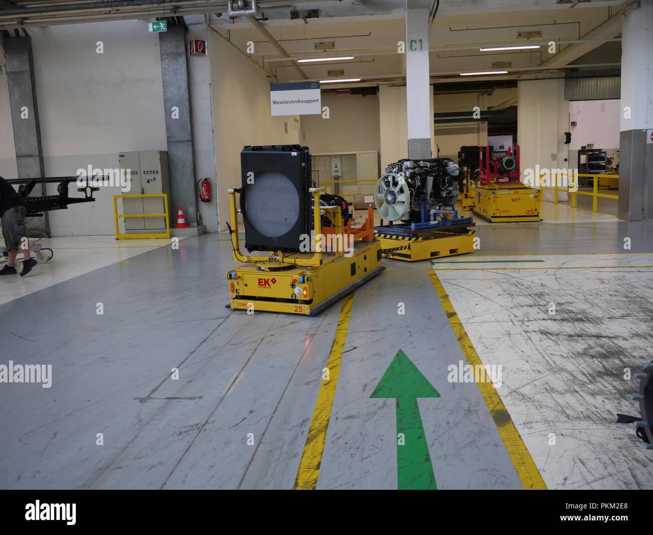 Autonomus carrier in Man truck factory, in Steyr (Austria) - Stock Image