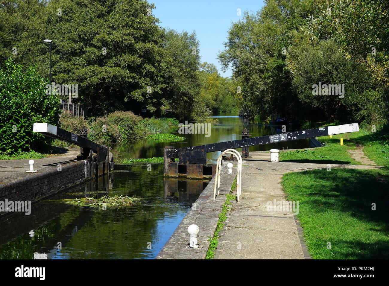 Twyford Lock on the Stort Navigation near Little Hallingbury Stock Photo