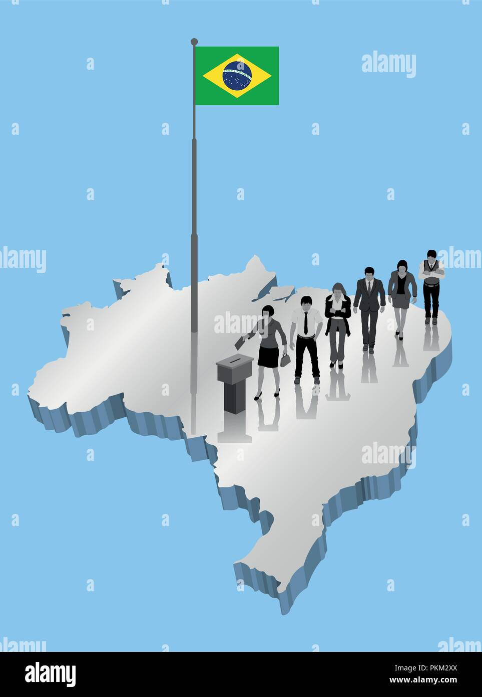 Brazilian citizens voting for Brazil referendum over an 3D map with Flagpole. All the objects, shadows and background are in different layers. - Stock Image