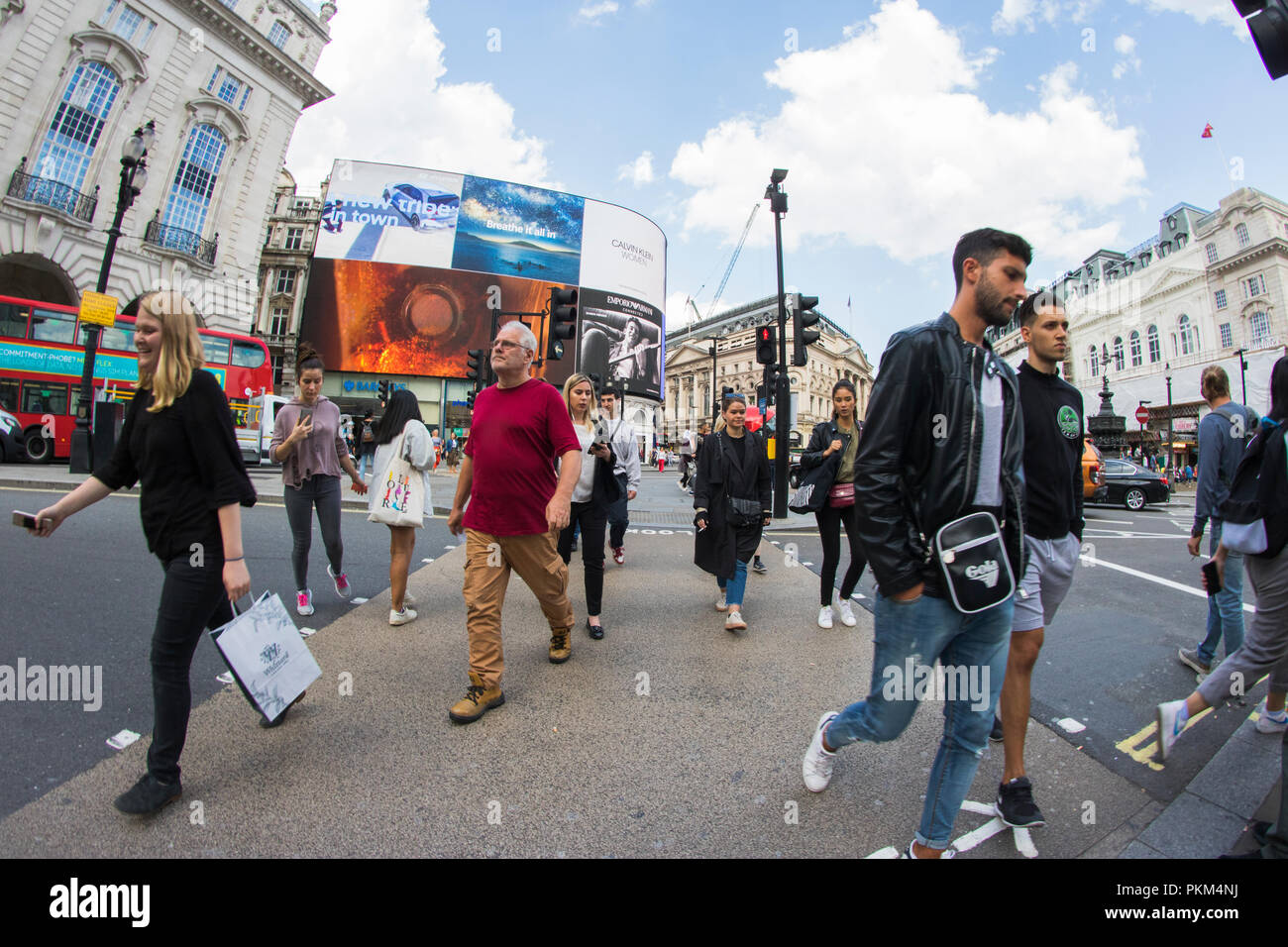 Pedestrians at Picadilly Circus - Stock Image