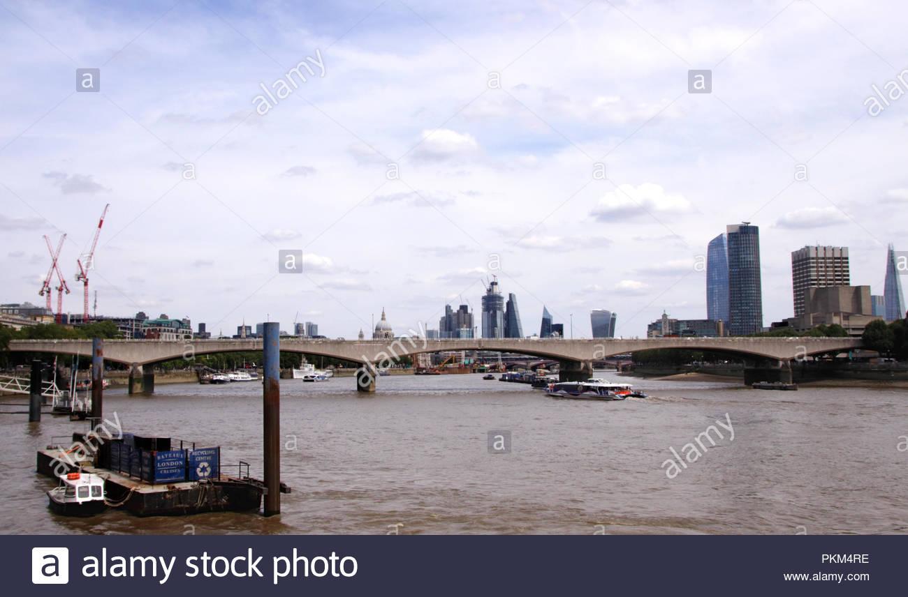 Waterloo Bridge and London Skyline August 2018 Stock Photo
