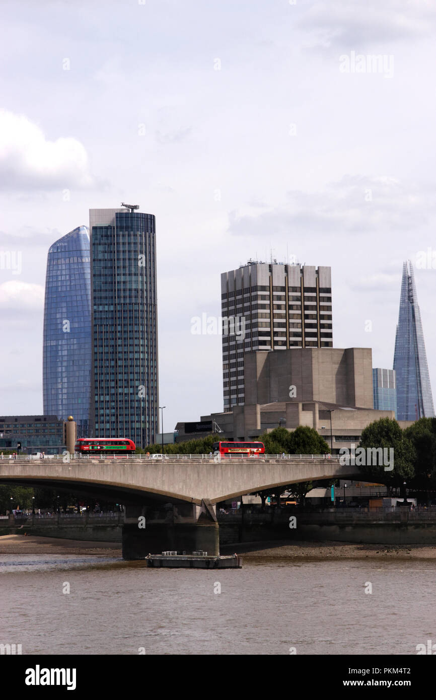 Waterloo Bridge and London Skyline including The Shard and Doon Street Tower August 2018 Stock Photo