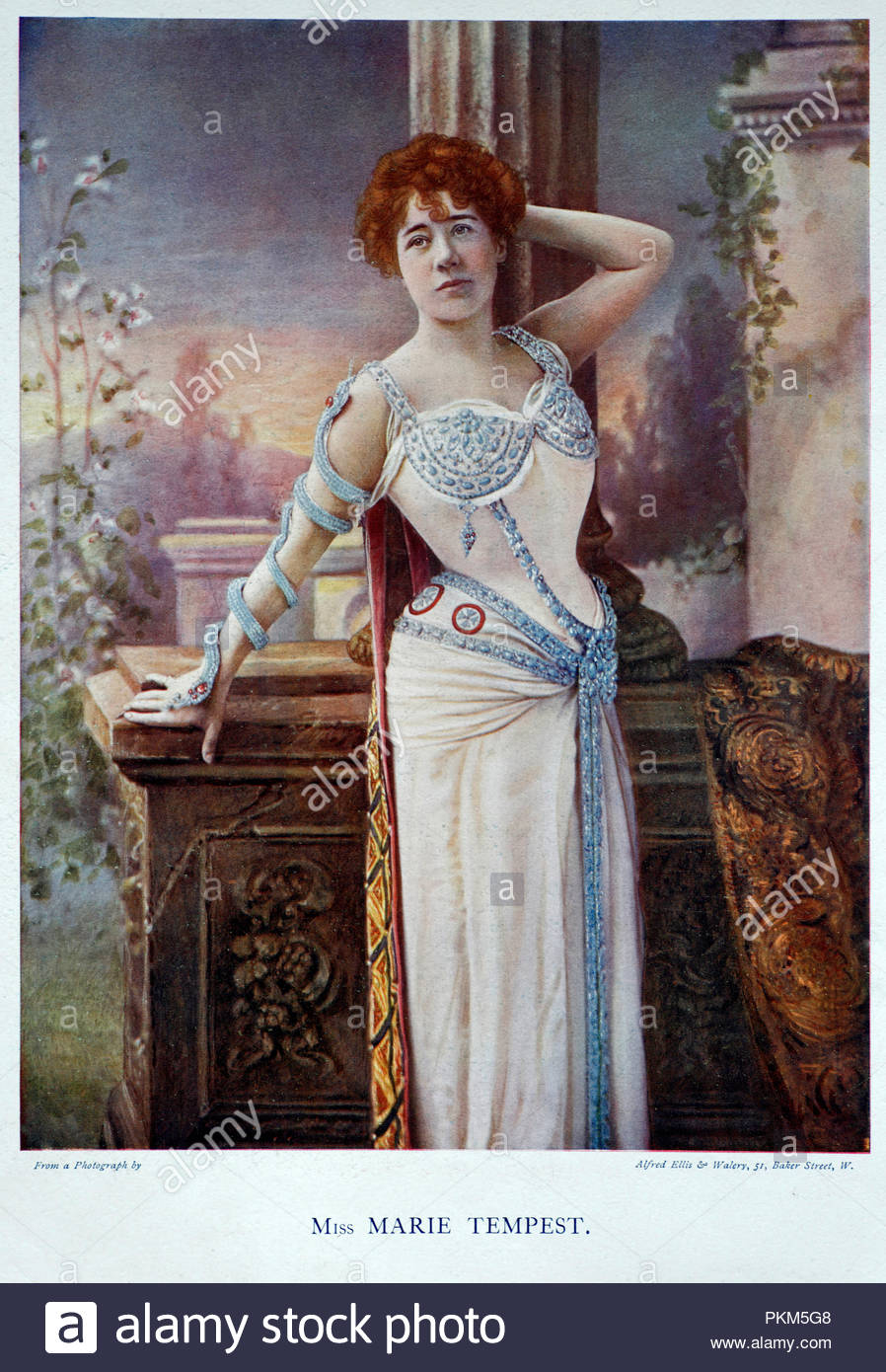Marie Tempest portrait, 1864 – 1942, was an English singer and actress, colour illustration from 1899 - Stock Image