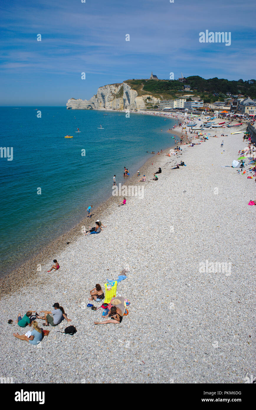 Etretat beach and cliffs in summer, Normandy, France - Stock Image