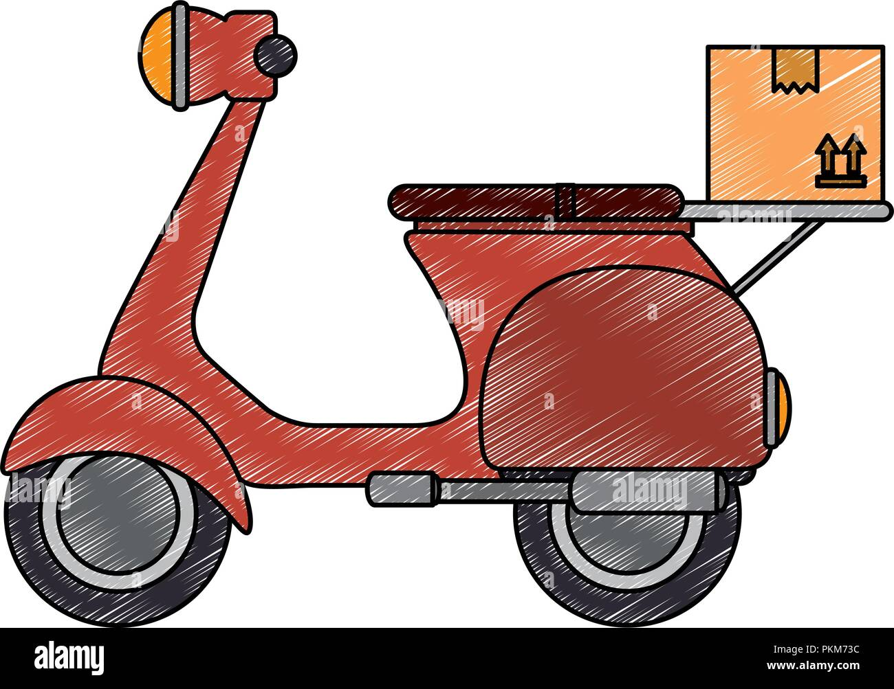 scooter motorcycle with box - Stock Image