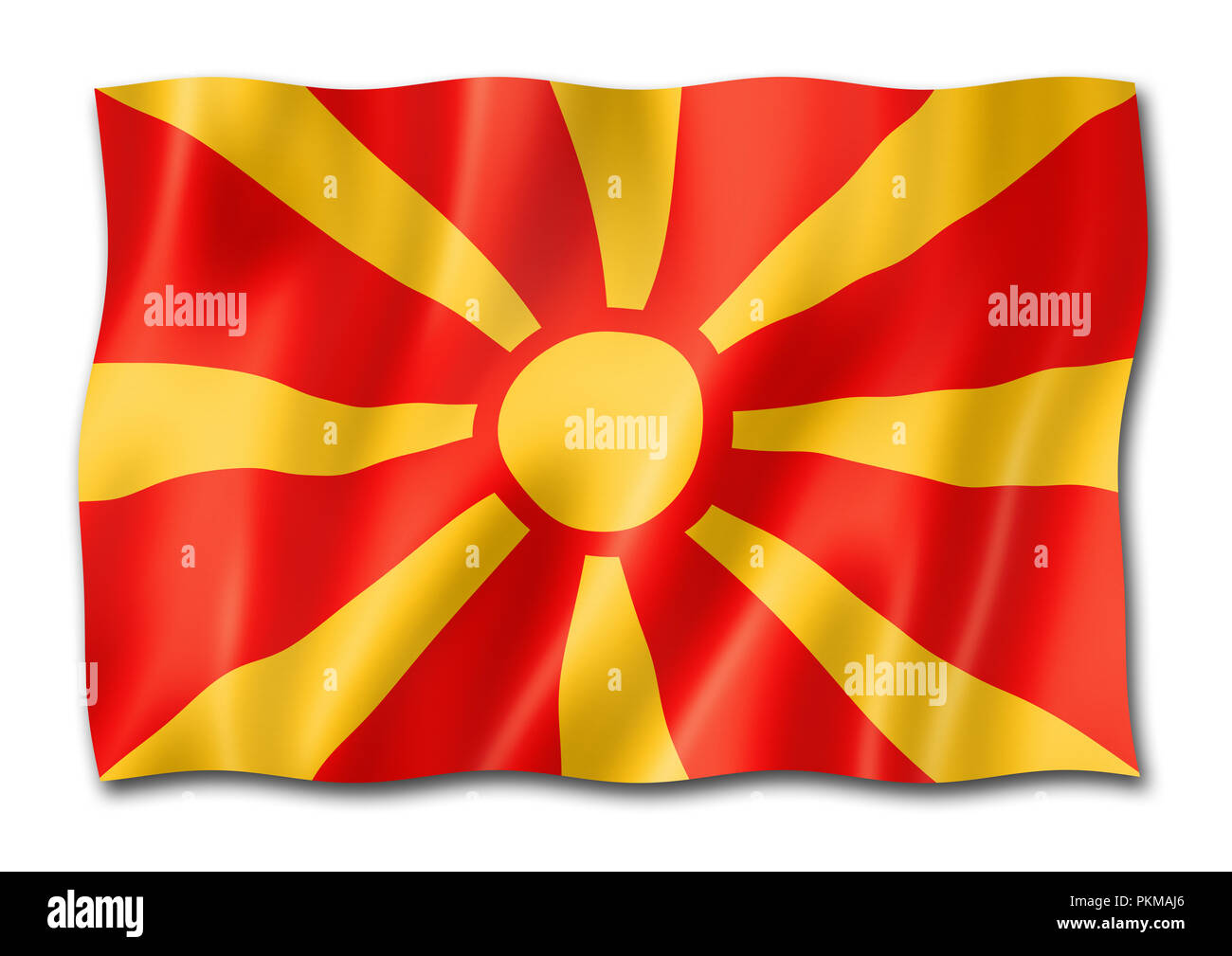 Macedonia flag, three dimensional render, isolated on white - Stock Image