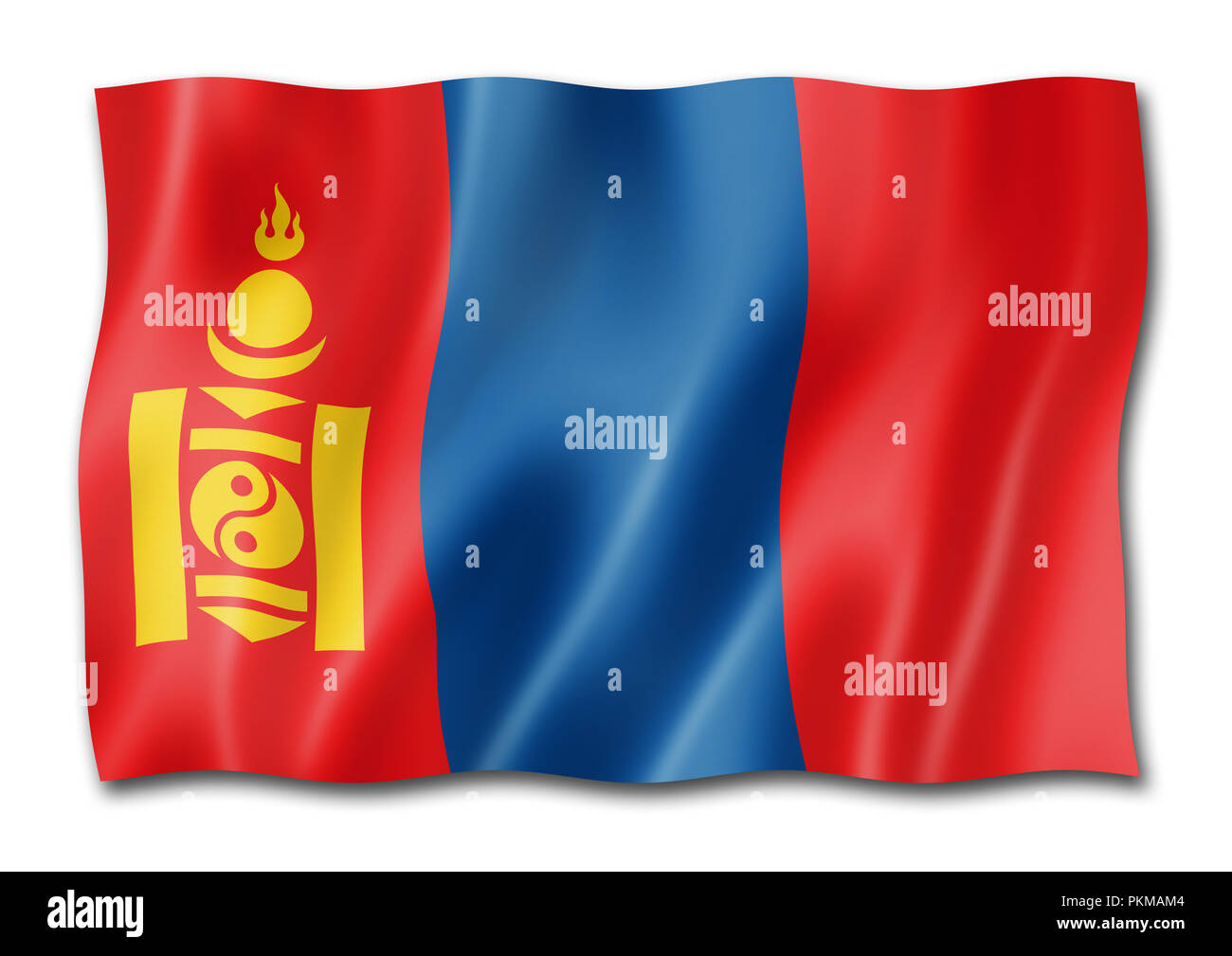 Mongolia flag, three dimensional render, isolated on white - Stock Image