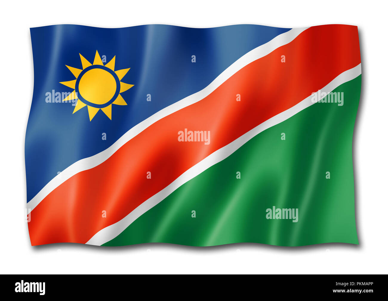 Namibia flag, three dimensional render, isolated on white - Stock Image