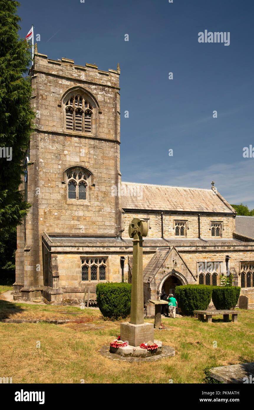 UK, Yorkshire, Wharfedale, Burnsall, St Wilfrid's 12th century Church from churchyard - Stock Image