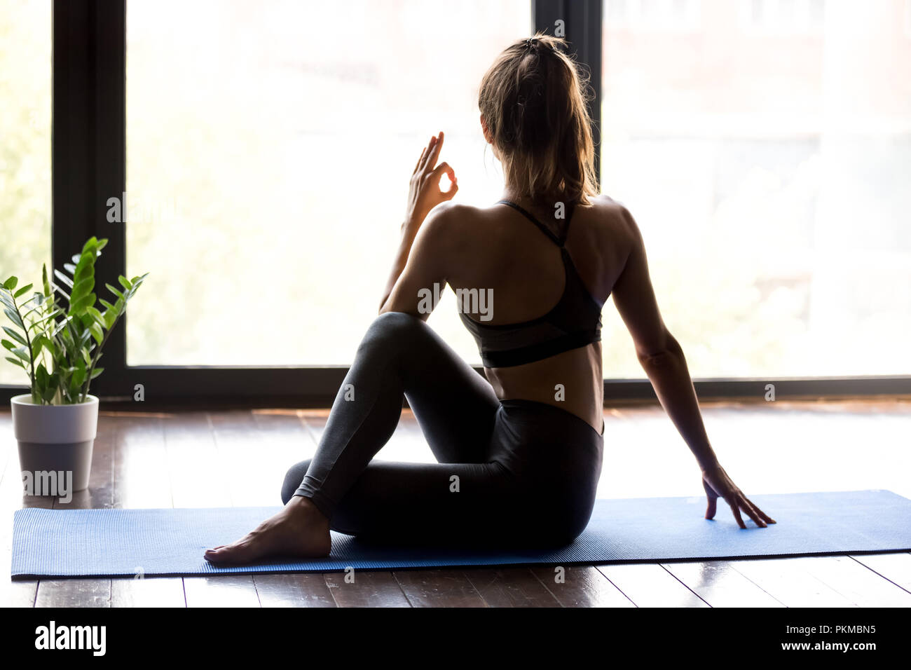 Young sporty woman in Ardha Matsyendrasana yoga pose - Stock Image