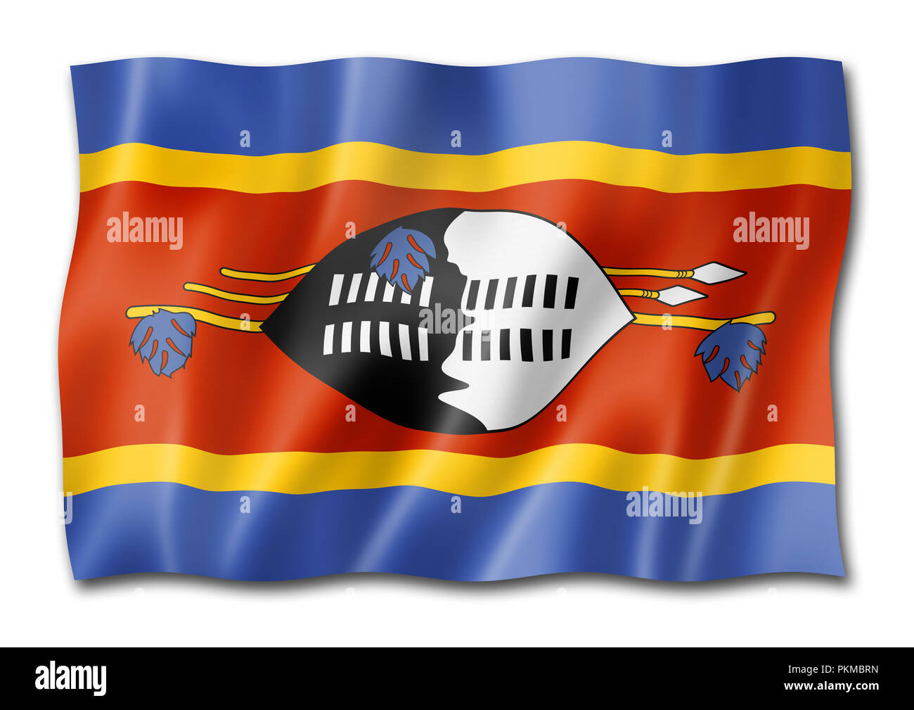 Swaziland flag, three dimensional render, isolated on white Stock Photo