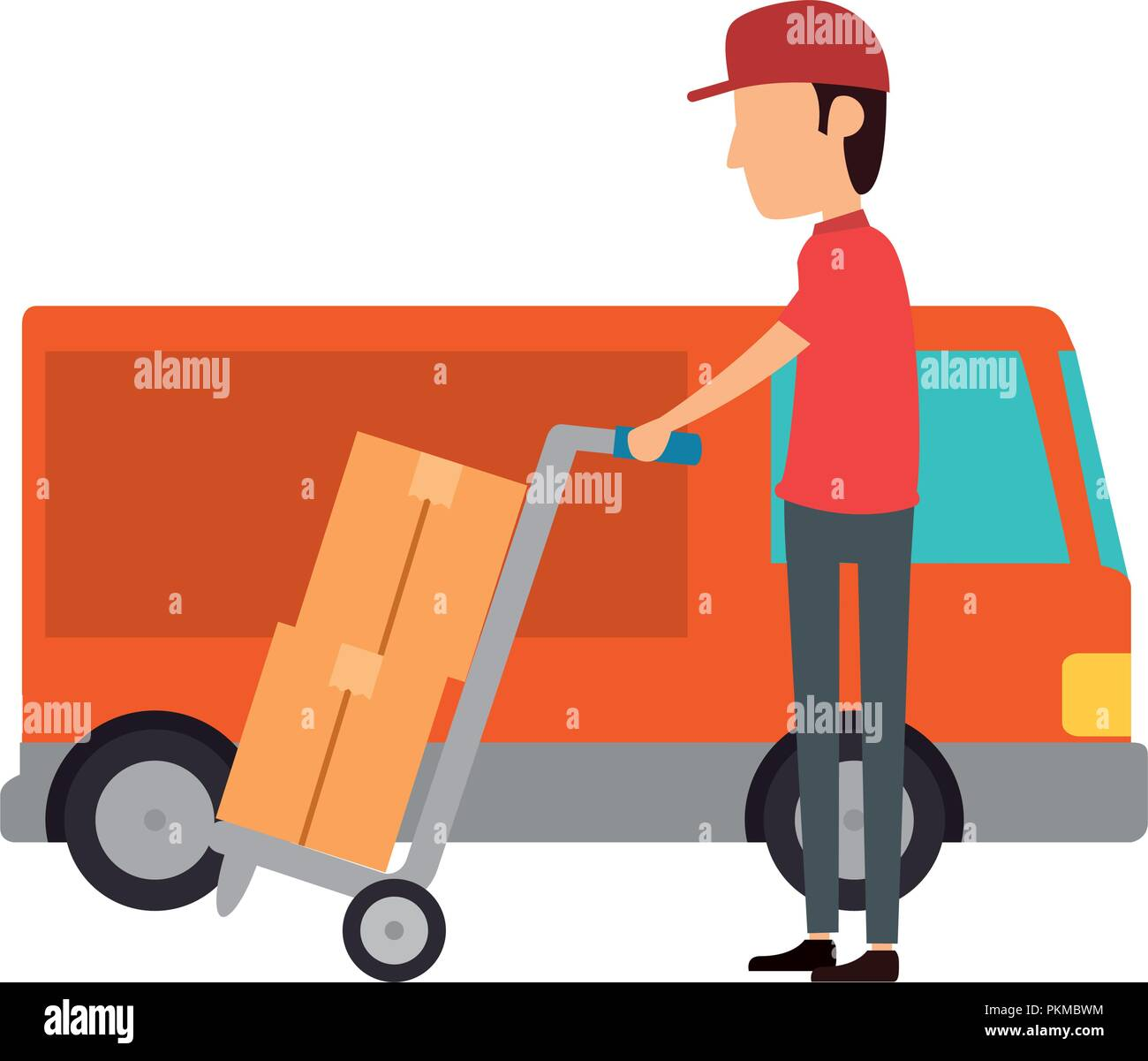 delivery worker with cart and truck - Stock Image