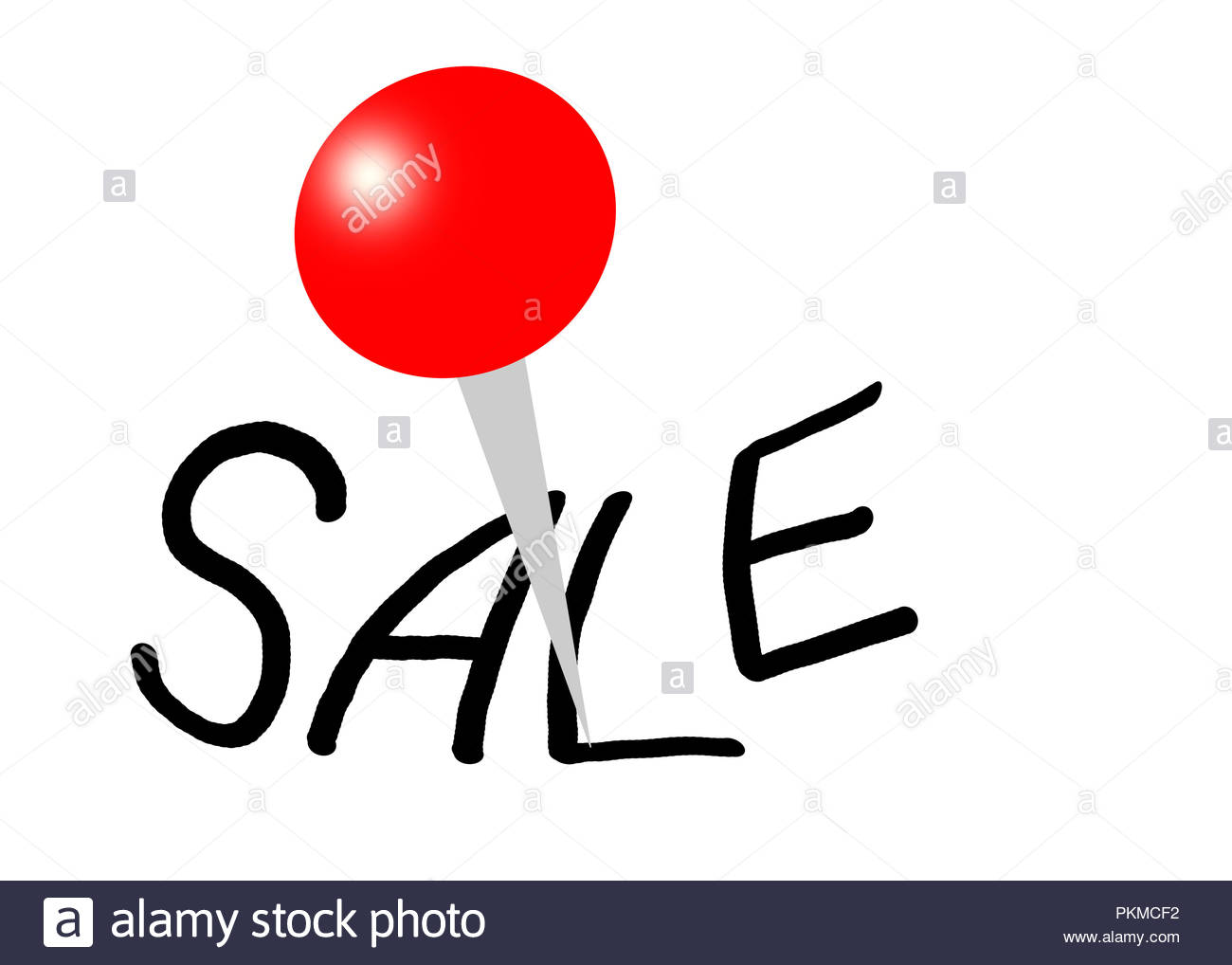 sale label with red pin point - Stock Image