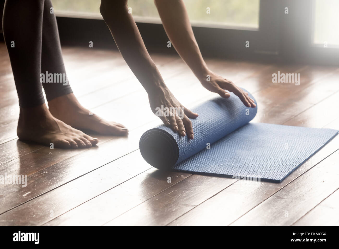 Mindful meditation or fitness session at home concept - Stock Image