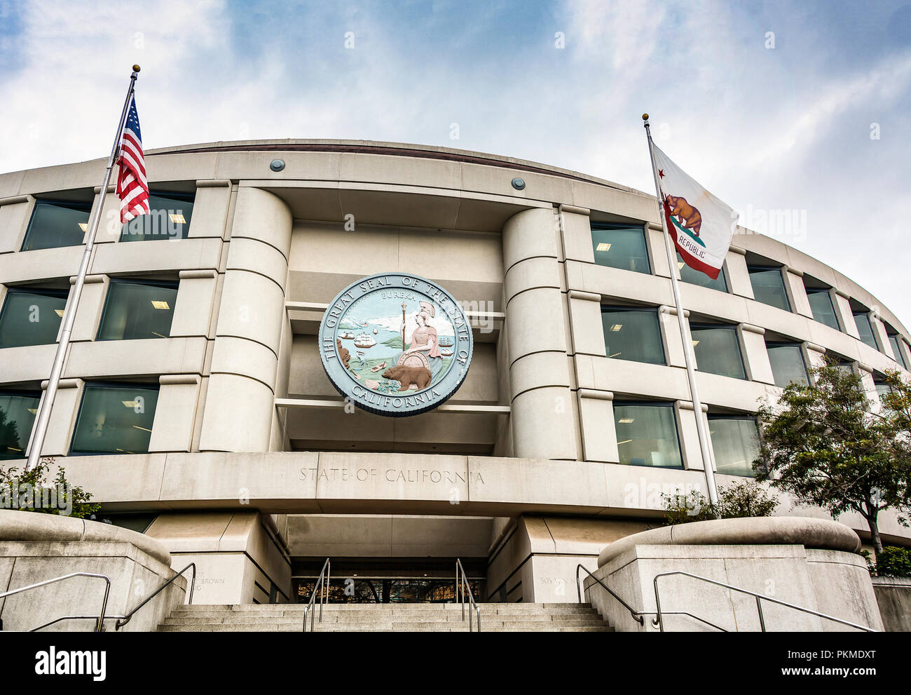 San Francisco, CA, USA, October 26th 2016: Main entrance of the California Public Utilities Commission headquarters building in San Francisco, Califor - Stock Image