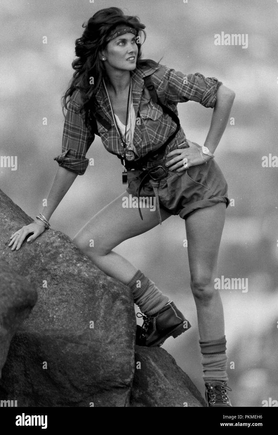 Ilkley Moor, Yorkshire, UK. 1st October 1984. Bond girl Caroline Munro in a shot from autumn 1984 models on Yorkshire's famous Ilkley Moor. Caroline featured in The Spy Who Loved Me, and At The Earth's Core and numerous scream queen films. - Stock Image