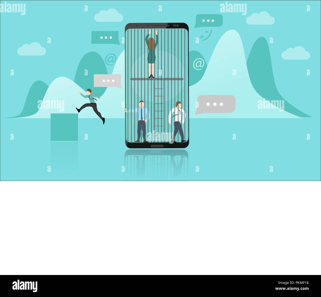 Smartphone Addiction Concept. The People Trapped Inside the Smartphone Represents the Addiction. They Cant Escape. Flat Style Vector Illustration - Stock Image