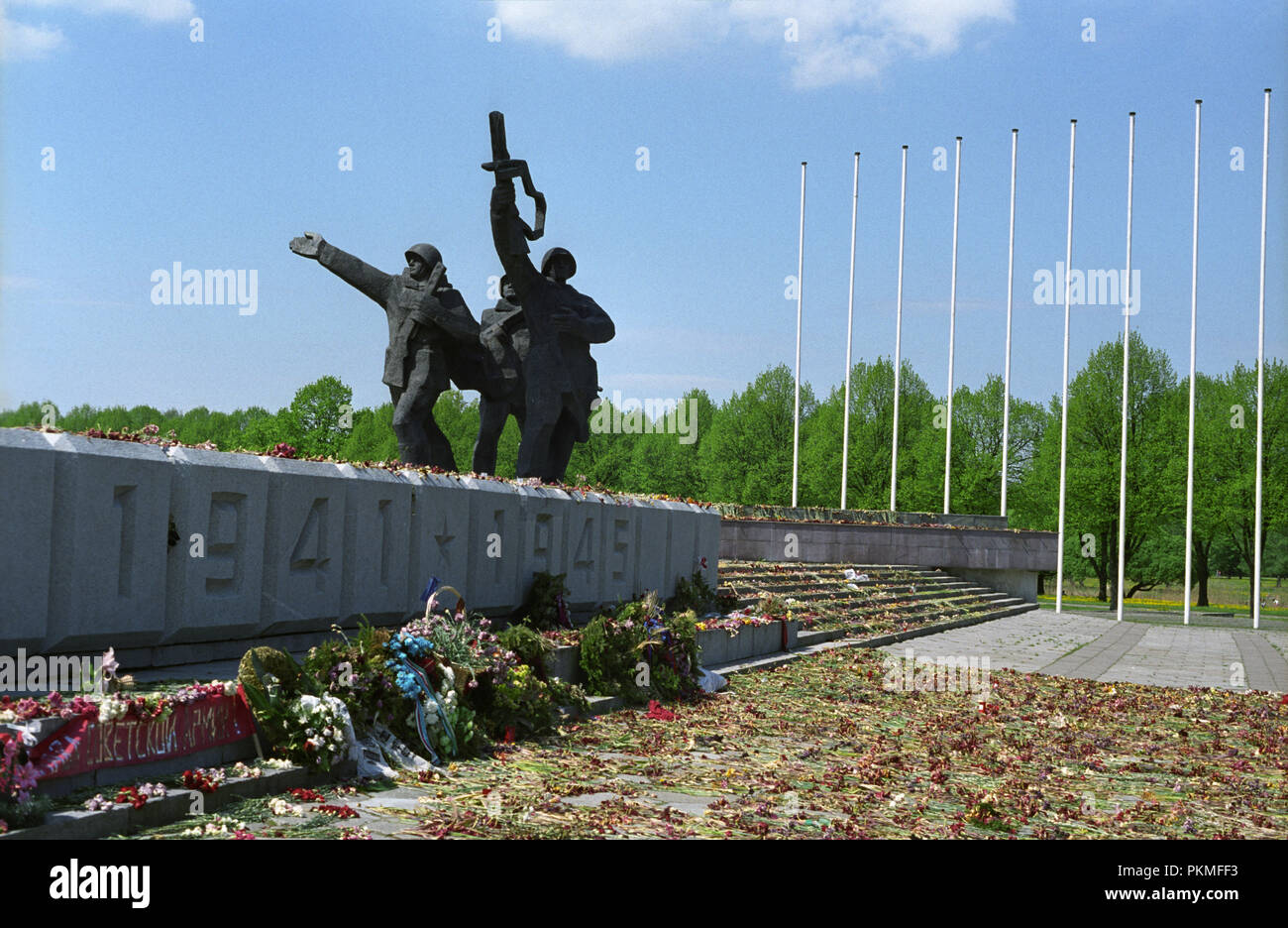 Soviet War Memorial in Riga Latvia May 2007   erected in 1985 to commemorate the Soviet Army's victory over the Nazi Germany in World War 2 - Stock Image