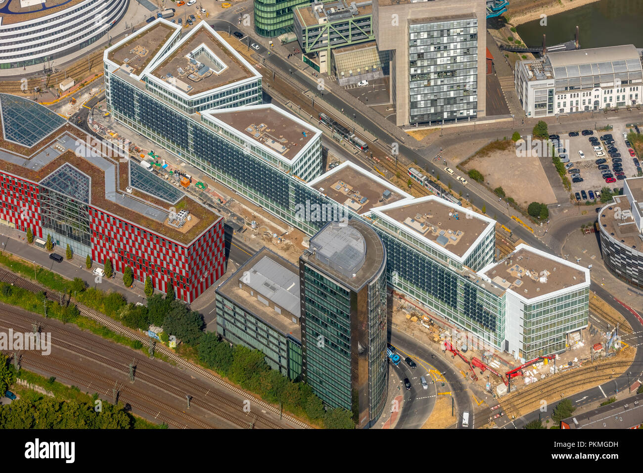 Aerial view, Construction site for the construction of an office and commercial building FLOAT Holzstraße in Düsseldorf Stock Photo