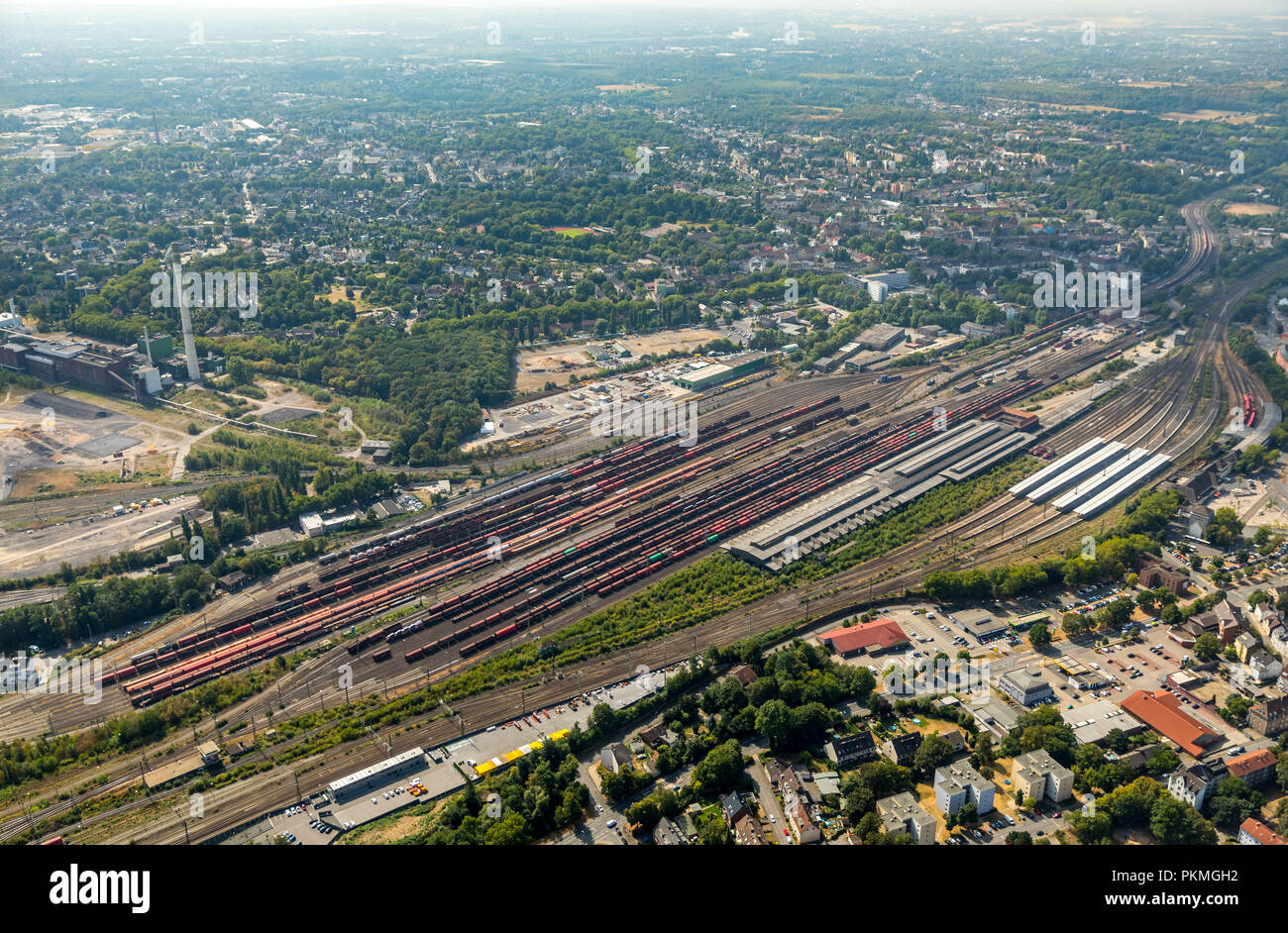 Aerial view, Development project former general cargo station, main station Wanne-Eickel, track systems, tub Eickel, Herne - Stock Image