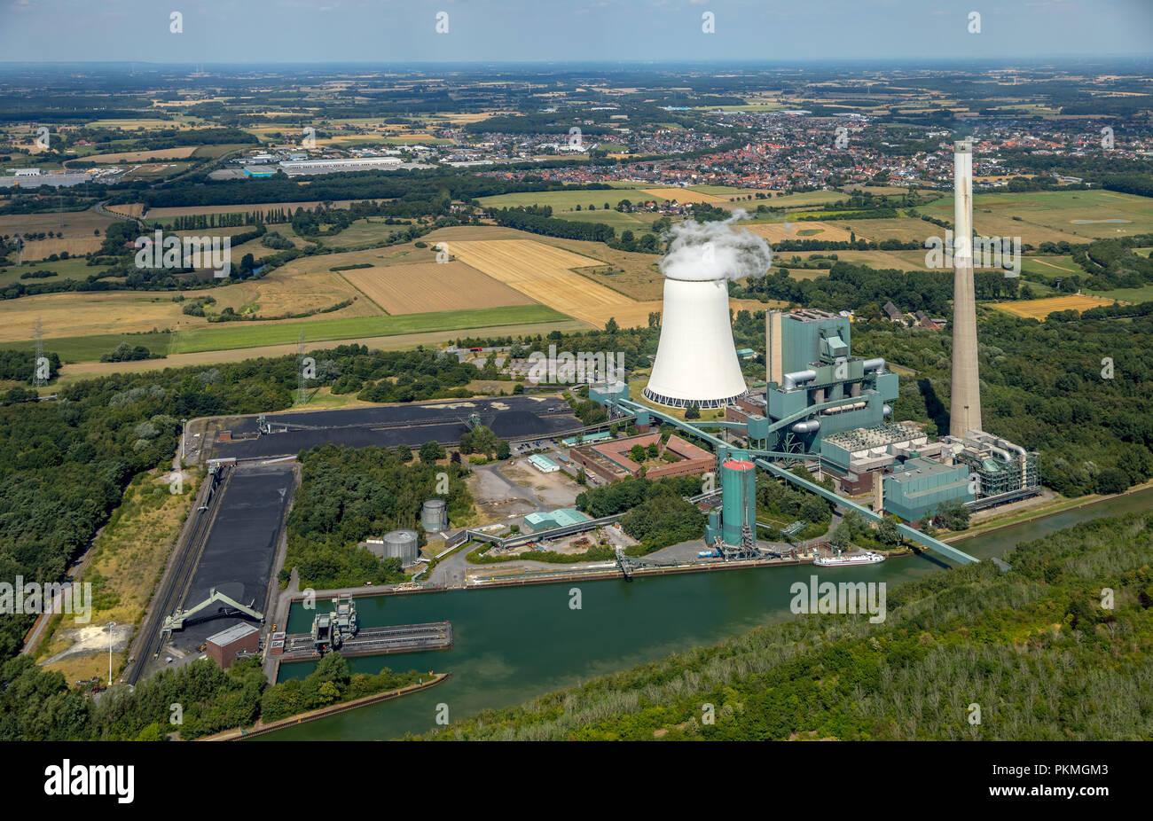 Aerial view, Power plant Heil, joint power station Bergkamen, Bergkamen, Ruhr Area, North Rhine-Westphalia, Germany - Stock Image