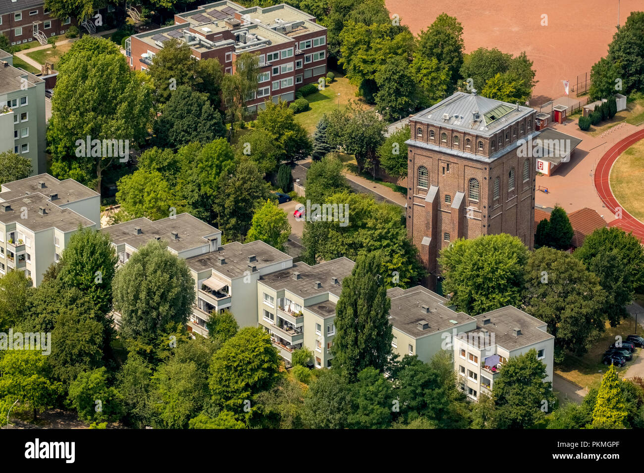 Aerial view, Former colliery Julius Philipp in Bochum with Malakowturm, Institute of Medical Ethics and History of Medicine of - Stock Image
