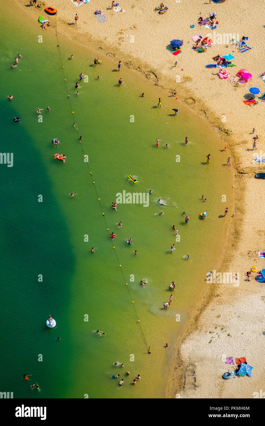 Aerial view, The most popular lido of the Ruhr area is located at the Silbersee II lake in Haltern am See, lido, turquoise water - Stock Image