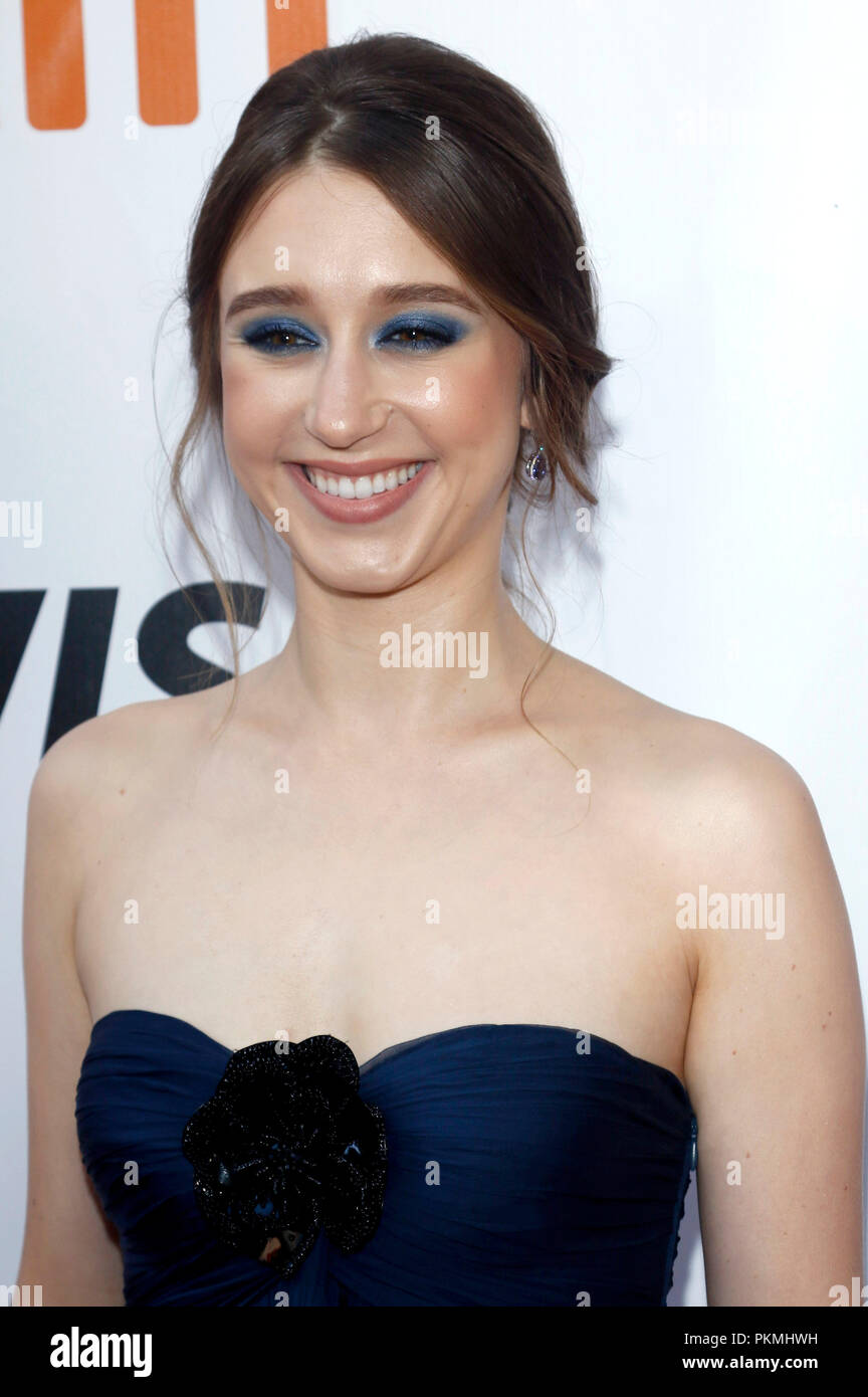 Taissa Farmiga attending the 'What They Had' premiere during the 2018 Toronto International Film Festival at Roy Thomson Hall on September 12, 2018 in Toronto, Canada. - Stock Image