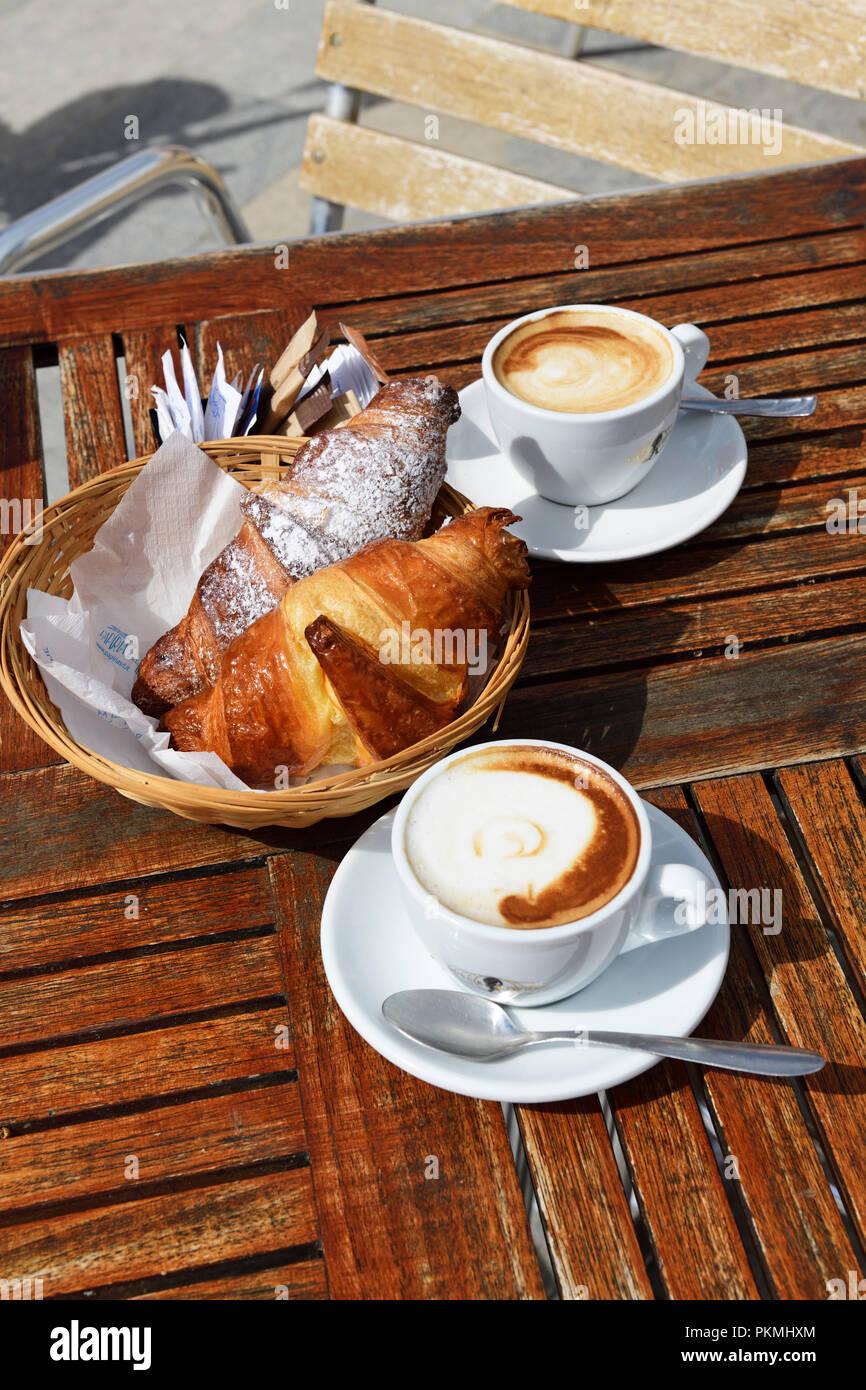 Breakfast at Da Alfredo, Lingua, Salina Island, Lipari or Aeolian Islands, Sicily, Italy - Stock Image