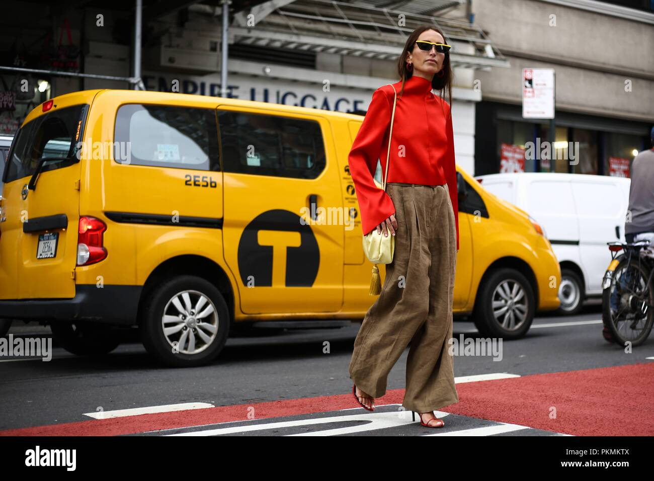 Loulou De Saison posing on the street outside of the Maryam Nassir show during New York Fashion Week - Sept 12, 2018 - Photo: Runway Manhattan ***For Editorial Use Only*** | usage worldwide - Stock Image