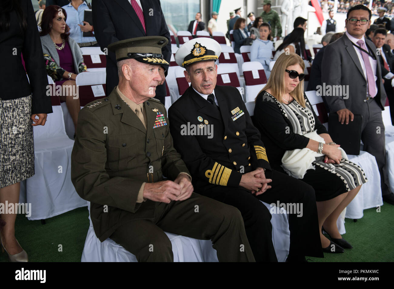 Mexico City, Mexico. 13th Sep, 2018. U.S. Marine Corps Gen. Joe Dunford, chairman of the Joint Chiefs of Staff, sits beside Urugrayan Navy Commandant Adm. Carlos Abilleira before the start of a Military Parade hosted by Mexican President, Enrique PeЦa Nieto, in Mexico City, Mexico, Sept. 13, 2018. Credit: Us Joint Staff/Russian Look/ZUMA Wire/Alamy Live News Stock Photo