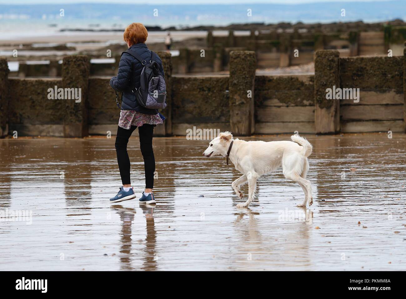 Hastings, East Sussex, UK. 14th Sep, 2018. UK Weather: Cloudy with a drop in temperature but pleasant morning in the seaside town of Hastings. Red head woman walking with her dog on the beach. © Paul Lawrenson 2018, Photo Credit: Paul Lawrenson / Alamy Live News - Stock Image
