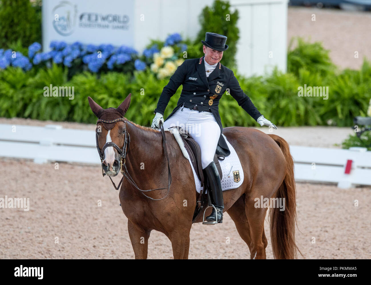 Tryon, USA. 13th Sep, 2018. Equestrian, FEI World Equestrian Game 2018, Grand Prix de Dressage: Isabell Werth crying for joy while on her horse Bella Rose. Credit: Stefan Lafrentz/dpa/Alamy Live News - Stock Image