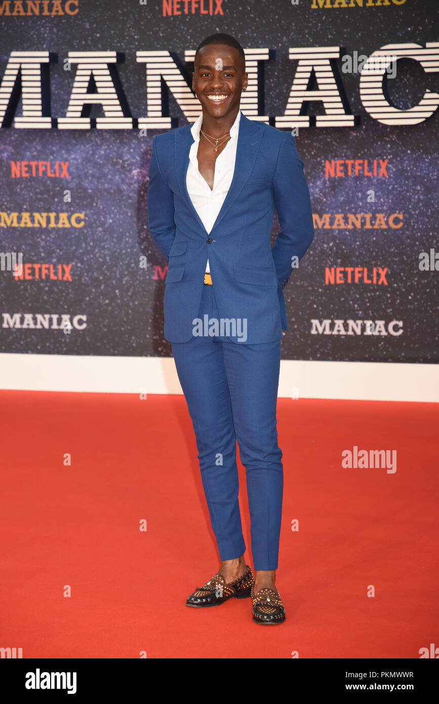 London, UK. 13th September 2018. Ncuti Gatwa,'Maniac' Netflix TV Premiere,Queen Elizabeth Hall,Southbank,London.UK Credit: michael melia/Alamy Live News - Stock Image