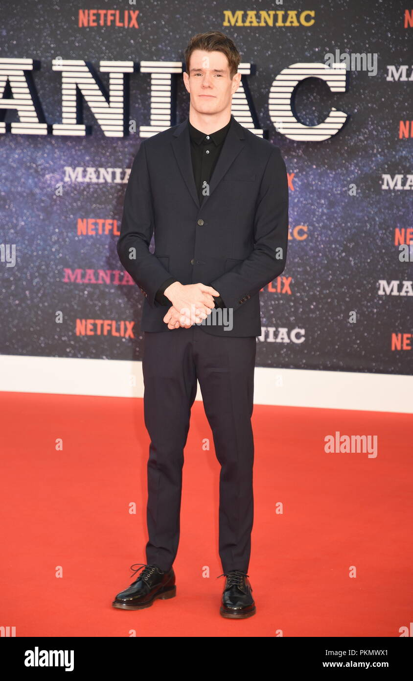 London, UK. 13th September 2018. Connor Swindells,'Maniac' Netflix TV Premiere,Queen Elizabeth Hall,Southbank,London.UK Credit: michael melia/Alamy Live News - Stock Image