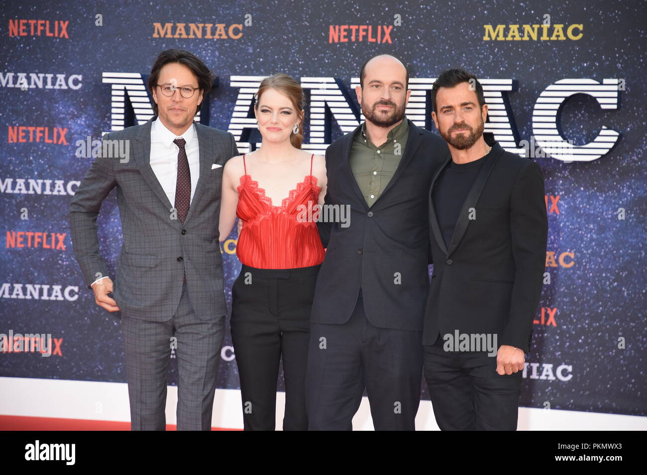 London, UK. 13th September 2018. Cary Fukunaga,Emma Stone,Patrick Somerville,Justin Theroux,'Maniac'Netflix TV Premiere,Queen Elizabeth Hall,Southbank,London.UK Credit: michael melia/Alamy Live News - Stock Image