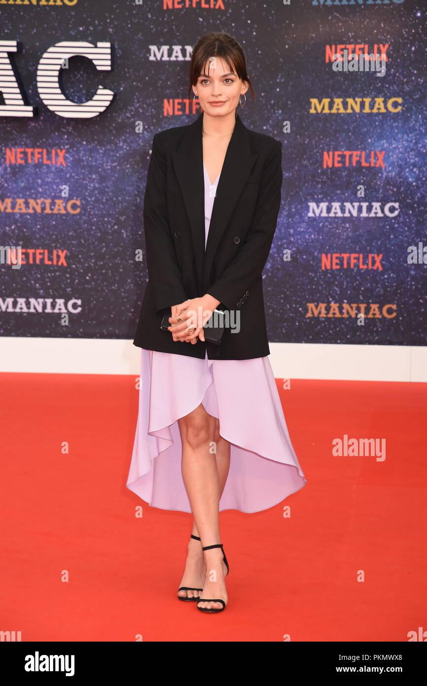 London, UK. 13th September 2018. Emma Mackey,'Maniac' Netflix TV Premiere,Queen Elizabeth Hall,Southbank,London.UK Credit: michael melia/Alamy Live News - Stock Image