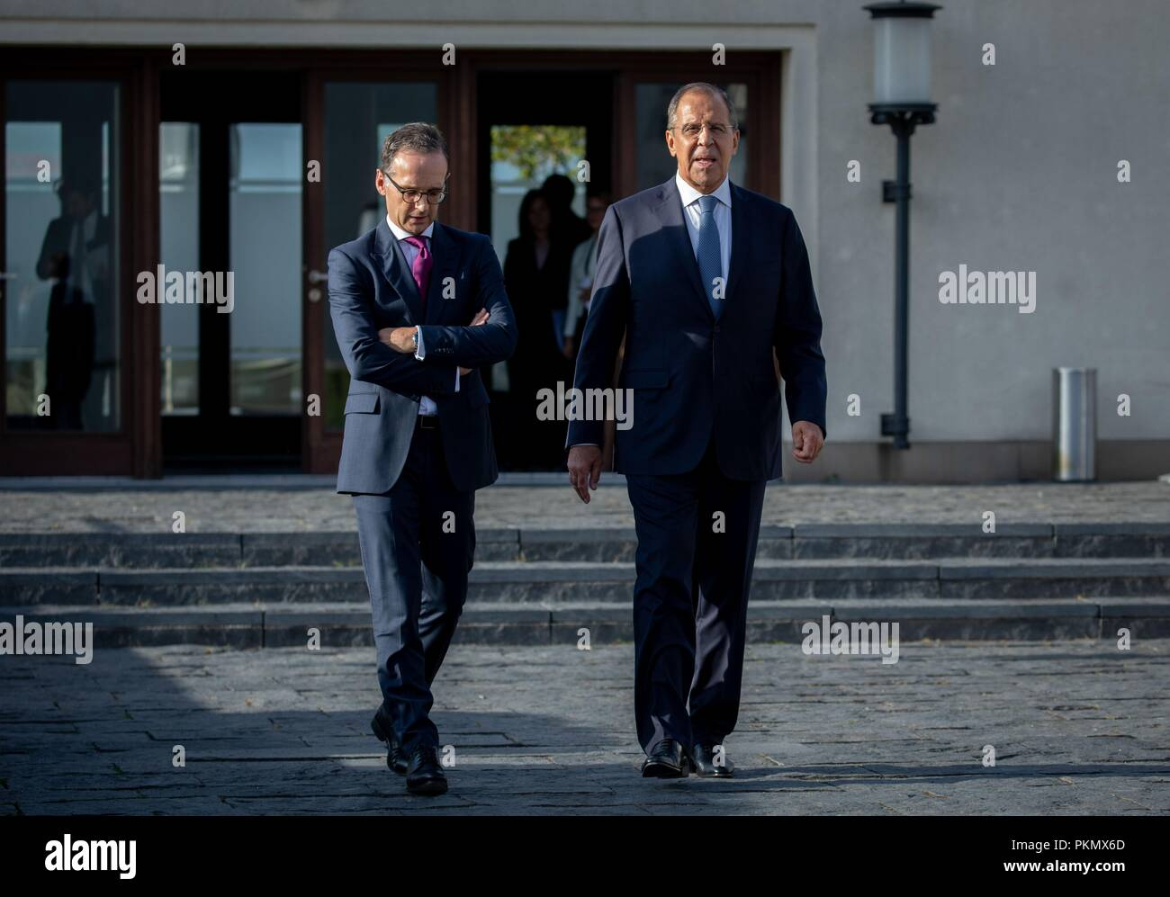 Berlin, Germany. 14 September 2018, Berlin: 14 September 2018, Germany, Berlin: Heiko Maas (SPD), German Foreign Minister, and Sergei Lavrov, Russian Foreign Minister, are going to the roof terrace of the Federal Foreign Office. Earlier, Maas and Lavrov gave a press conference after an interview. Photo: Kay Nietfeld/pool/dpa Credit: dpa picture alliance/Alamy Live News - Stock Image