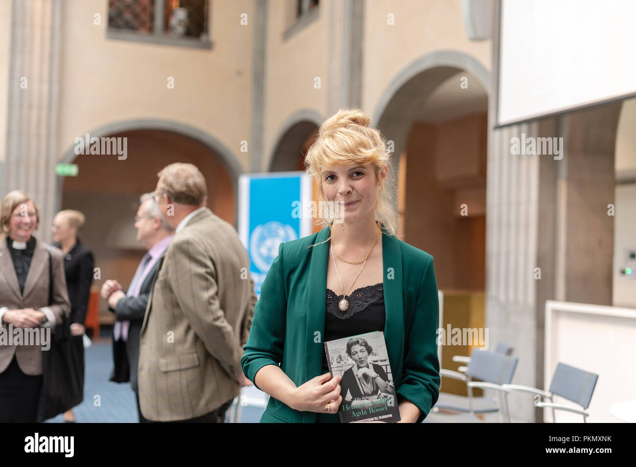 """Stockholm, Sweden, September 14, 2018. Seminar about Agda Rössel (1910-2001) Sweden's and the world's first female UN ambassador. Presentation of the book """"Her Excellency Agda Rössel: from Lineman cottage to the UN Scraper """"by author Elin Jäderström. The author Elin Jäderström. The seminar is held at the Ministry of Foreign Affairs. Credit: Barbro Bergfeldt/Alamy Live News Stock Photo"""