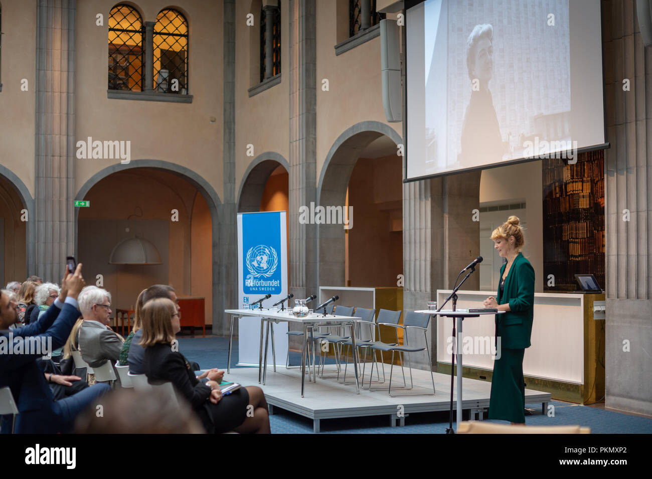 """Stockholm, Sweden, September 14, 2018. Seminar about Agda Rössel (1910-2001) Sweden's and the world's first female UN ambassador. Presentation of the book """"Her Excellency Agda Rössel: from Lineman cottage to the UN Scraper """"by author Elin Jäderström. The author Elin Jäderström.The seminar is held at the Ministry of Foreign Affairs.  Credit: Barbro Bergfeldt/Alamy Live News Stock Photo"""