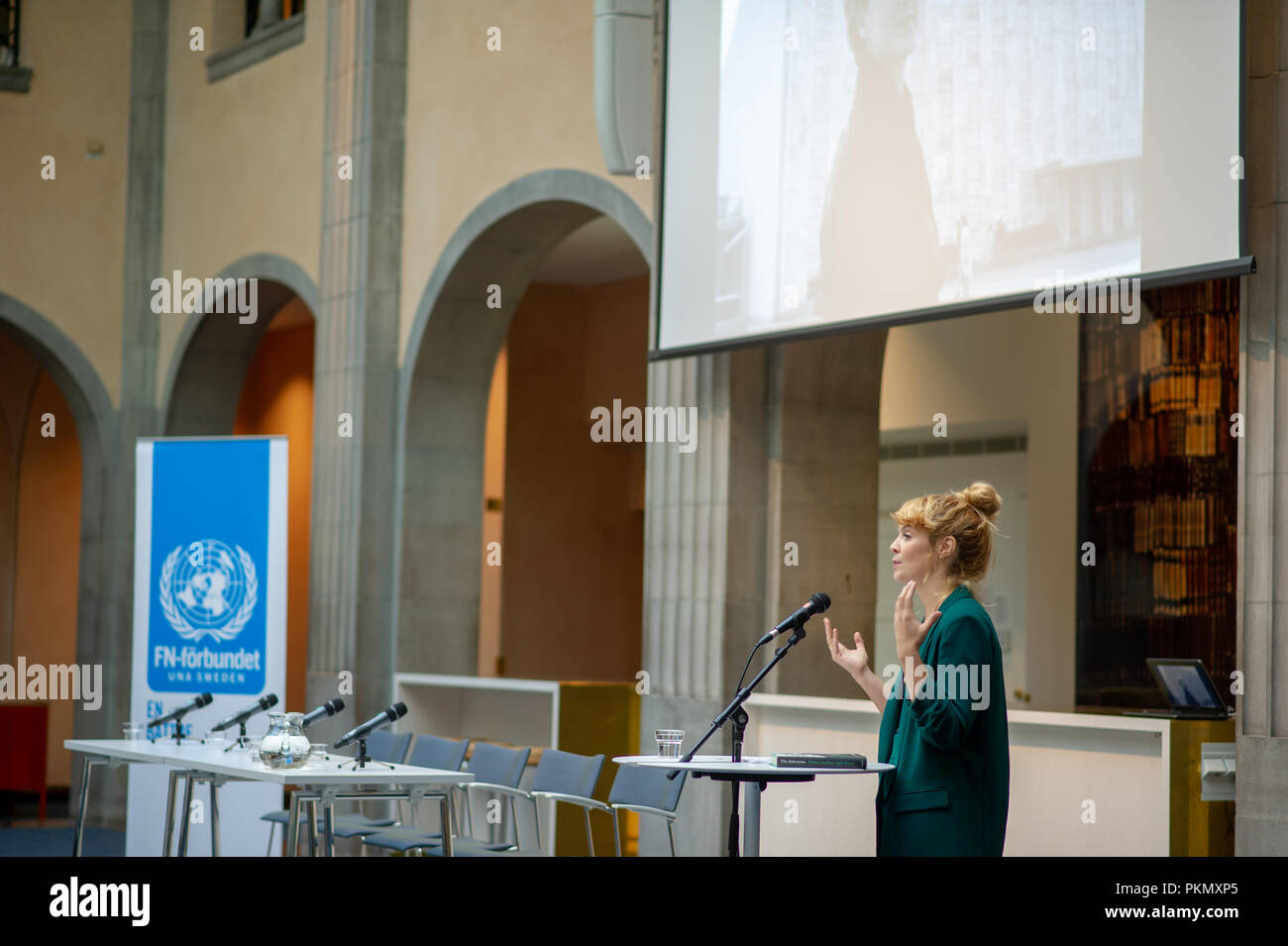 "Stockholm, Sweden, September 14, 2018. Seminar about Agda Rössel (1910-2001) Sweden's and the world's first female UN ambassador. Presentation of the book ""Her Excellency Agda Rössel: from Lineman cottage to the UN Scraper ""by author Elin Jäderström. The author Elin Jäderström.The seminar is held at the Ministry of Foreign Affairs.  Credit: Barbro Bergfeldt/Alamy Live News Stock Photo"