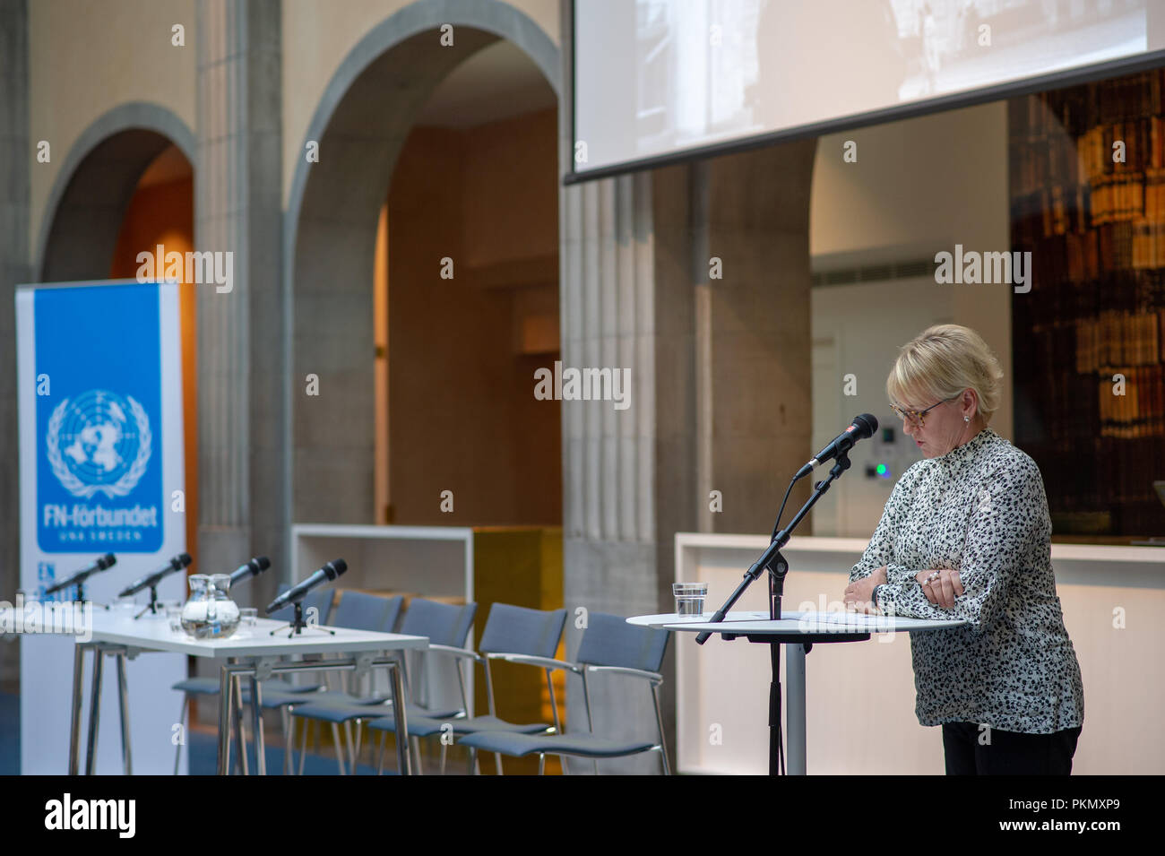 Stockholm, Sweden, September 14, 2018. Seminar about Agda Rössel (1910-2001) Sweden's and the world's first female UN ambassador. Introductory words by Foreign Minister Margot Wallström.The seminar is held at the Ministry of Foreign Affairs.  Credit: Barbro Bergfeldt/Alamy Live News Stock Photo