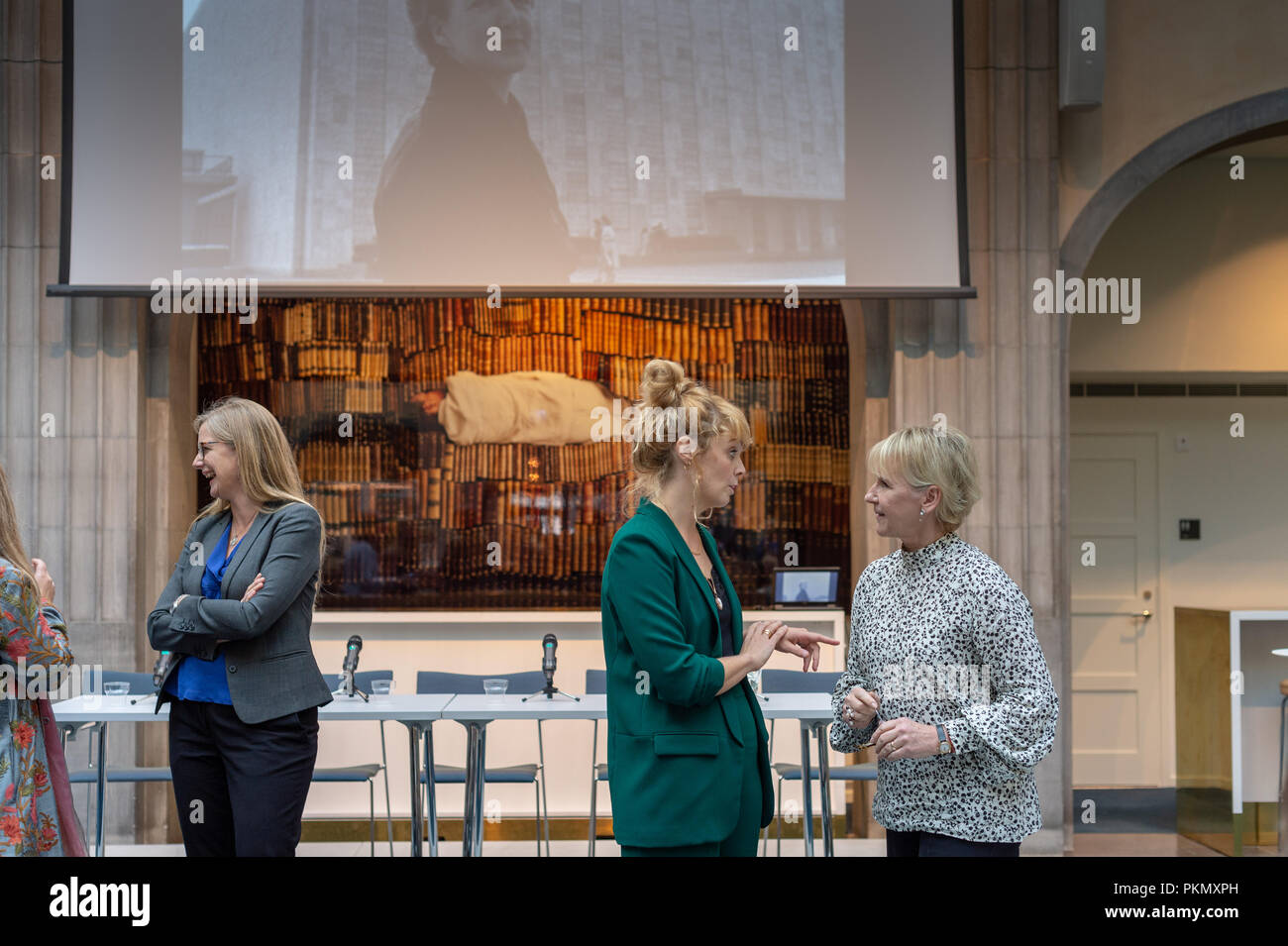 Stockholm, Sweden, September 14, 2018. Seminar about Agda Rössel (1910-2001) Sweden's and the world's first female UN ambassador. Author Elin Jäderström (left) and Foreign Minister Margot Wallström (right). The seminar is held at the Ministry of Foreign Affairs.Credit: Barbro Bergfeldt/Alamy Live News Stock Photo