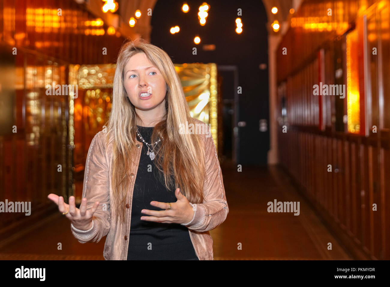 London, UK, 14th Sep 2018. Beatie Wolfe.  'The Art of Music in the Digital Age' by musician Beatie Wolfe, this 'Raw Space Chamber' anechoic chamber is entirely in gold colours. London Design Festival celebrates and promotes London as the design capital of the world. It returns to venues and institutions across the city from 15-23 September 2018. Credit: Imageplotter News and Sports/Alamy Live News - Stock Image