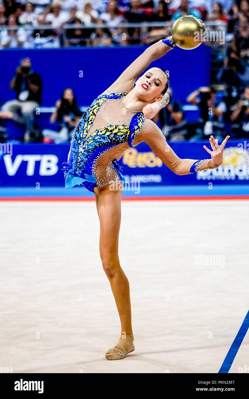 September 14, 2018: Nicol Zelikman of Israel during Individual All-Around Final at the Arena Armeec in Sofia at the 36th FIG Rhythmic Gymnastics World Championships. Ulrik Pedersen/CSM - Stock Image