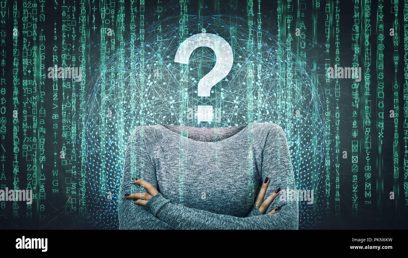 Surreal image as a woman online anonymous internet hacker with invisible face stand with crossed hands and question mark instead head, hiding identity Stock Photo